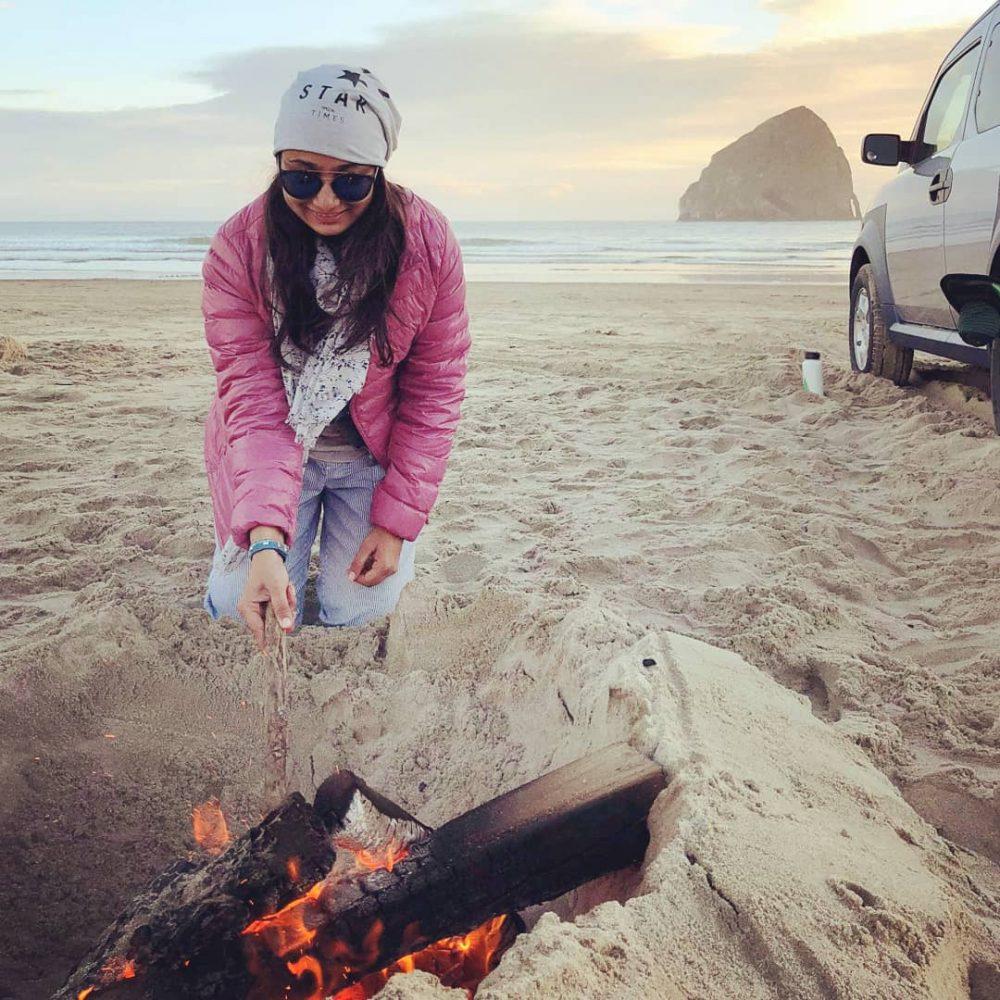 Pacific City Beach Oregon Bonfire Setup