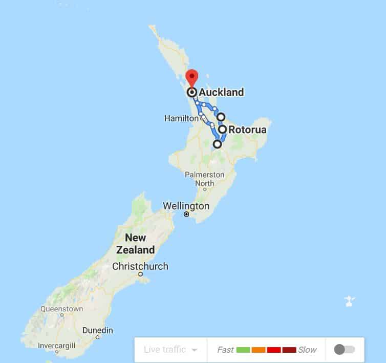 North Island Route Map New Zealand