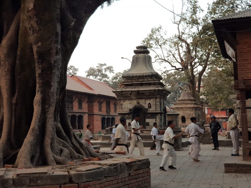 Karate Class Inside The Pashupatinath Temple
