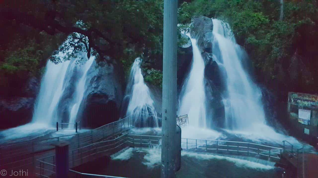 Long Exposure Image Of Aintharuvi Five Falls Taken In Dawn