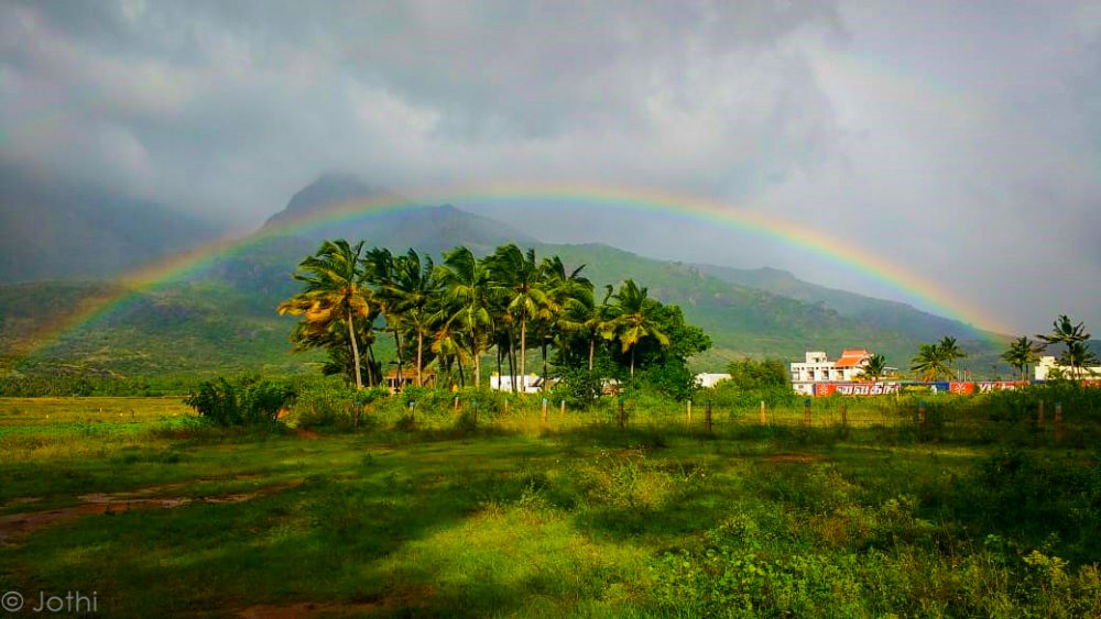 Rainbow Captured With Western Ghats In The Background