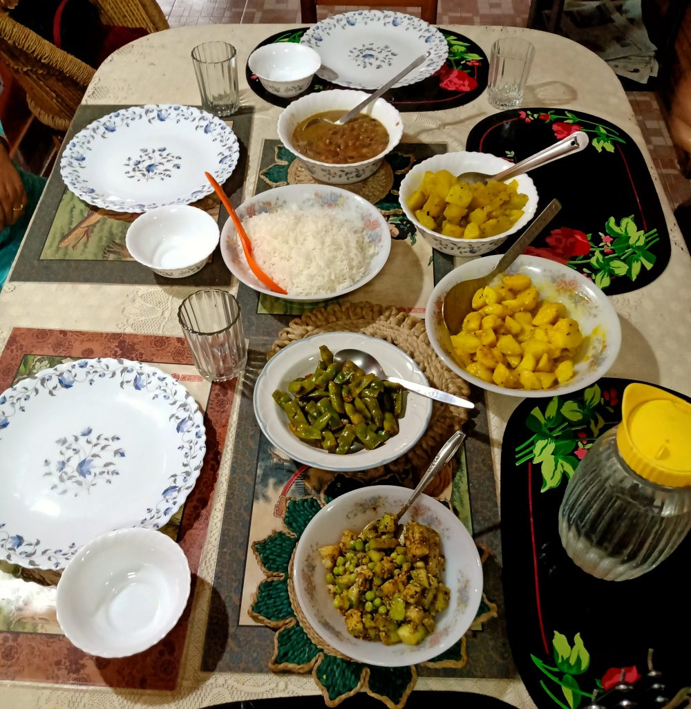 A Traditional Nepali Lunch With Homegrown Vegetables